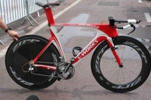 A super Specialized Shiv de Fabian Cancellara, que dificilmente será utilizada no Triathlon