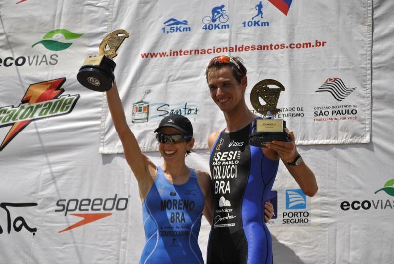 E842EBE1 6A26 4131 B6BB FD132BCE3F330 Reinaldo Colucci e Carla Moreno vencem Triathlon Internacional de Santos